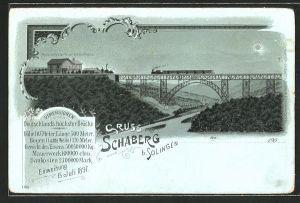 Mondschein-Lithographie Schaberg, Kaiser Wilhelm-Brücke mit Eisenbahn, Gasthaus
