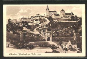 AK Mönchen Gladbach, Panorama im Jahre 1642