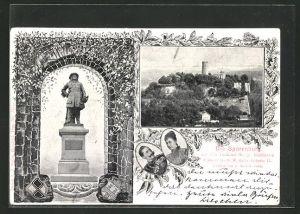 AK Bielefeld, Sparenburg, Denkmal und Portrait von Kaiser Wilhelm II.