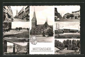 AK Wattenscheid, Ehrenmal, Stadion Beckmannshof, Bahnhof, Freilichtbühne, Hochstrasse, Oststrasse, Propsteikirche