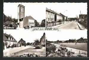 AK Oedt / Ndrh., Ev. Kirche, Friedhofsanlagen und Neu-Oedt