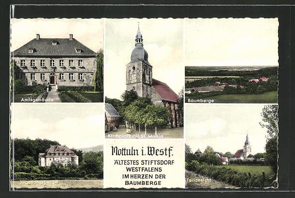 AK Nottuln i. W., Kirchplatz mit St. Marien, Amtsgebäude, Jugendherberge