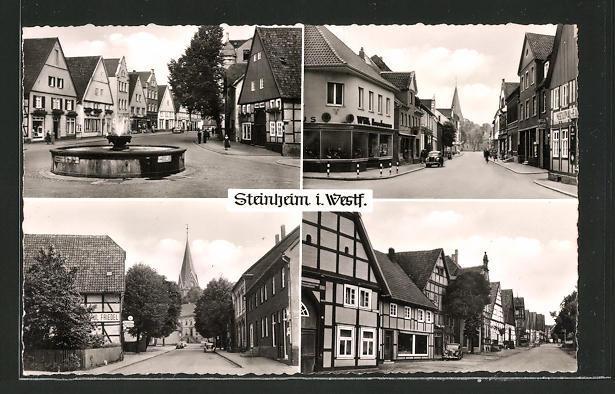 AK Steinheim i. Westf., Ortsansicht mit Strassenpartien, Geschäften und Brunnen