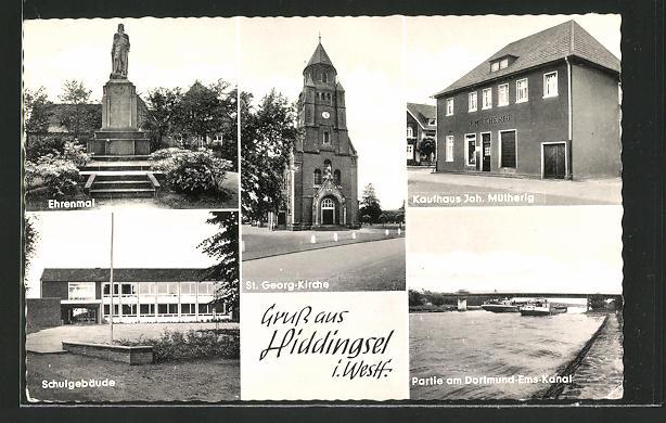 AK Hiddingsel i. Westf., Ehrenmal, St. Georg-Kirche, Kaufhaus Joh. Mütherig und Schule