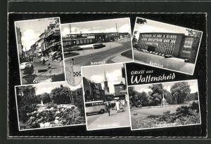 AK Wattenscheid, Bahnhof, Oststrasse, Hochstrasse und Rathaus