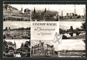 AK Castrop-Rauxel, Münsterplatz, Zeche Erin, Rennbahn und Rathaus
