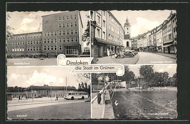 AK Dinslaken, Berufsschule, Duisburger Strasse, Freibad Hiesfeld, Bahnhof