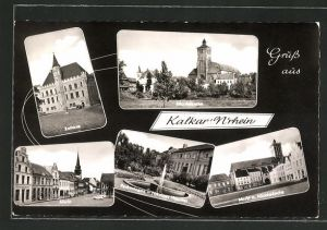 AK Kalkar / Niederrhein, Nicolaikirche, Rathaus, Markt, Parkanlagen