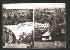 AK Düsseldorf-Gerresheim, Strassenpartie mit Strassenbahn, Ortsansichten aus der Vogelschau