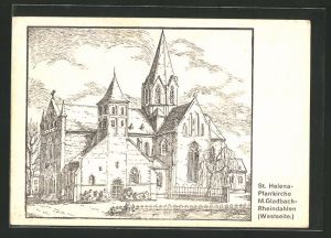Künstler-AK Mönchengladbach-Rheindahlen, Westseite der St. Helena-Pfarrkirche