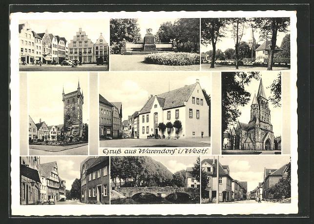 AK Warendorf, Strassenpartien, Denkmal, Ortspartie, Brücke