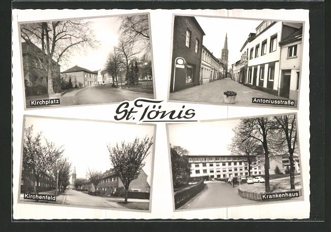 AK St. Tönis, Kirchplatz, Antoniusstrasse, Kirchenfeld, Krankenhaus