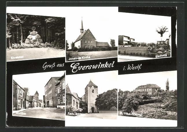 AK Everswinkel / Westf., Siedlung, Johannes Kirche, Ehrenmal, Nordstrasse