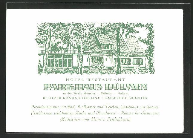 Künstler-AK Dülmen, Hotel-Restaurant Parkhaus
