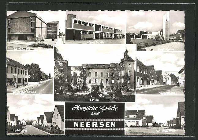 AK Neersen, Neue Schule, Krefelder Strasse, Hopfenweg, Hauptstrasse