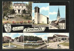 AK Grefrath, Rathaus, Evgl. Kirche, Hochstrasse, Freibad