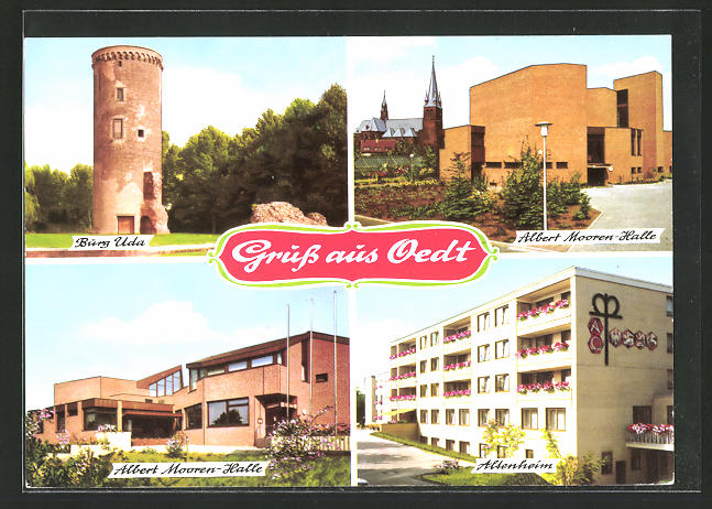 AK Oedt, Burg Uda, Albert Mooren-Halle, Altenheim