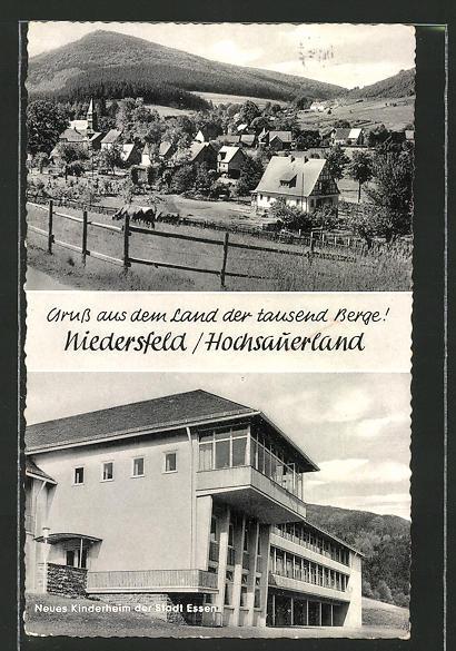 AK Niedersfeld, Neues Kinderheim der Stadt Essen, Ortspanorama