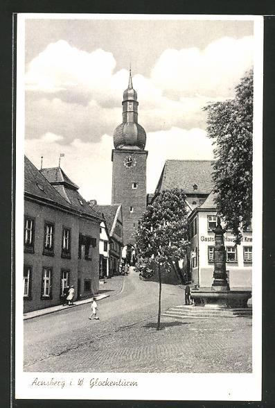 AK Arnsberg i. W., Glockenturm und Gasthaus