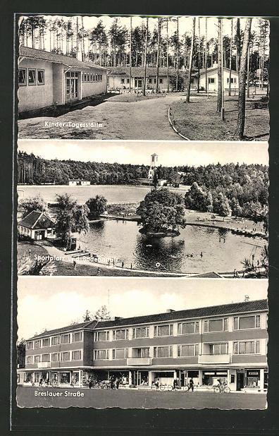 AK Espelkamp-Mittwald, Kindertagesstätte, Sportplatz und Badeanstalt, Breslauer Strasse