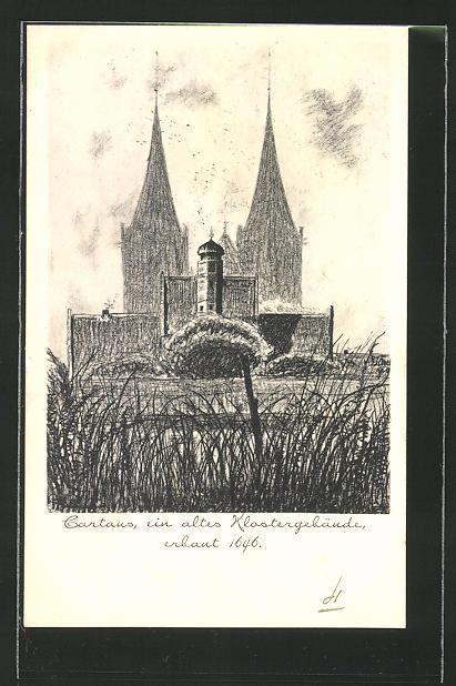AK Xanten, Blick zum Klostergebäude Cartaus (Karthaus)