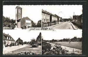 AK Oedt / Ndrh., Ev. Kirche, Friedhofsanlagen, Neu-Oedt