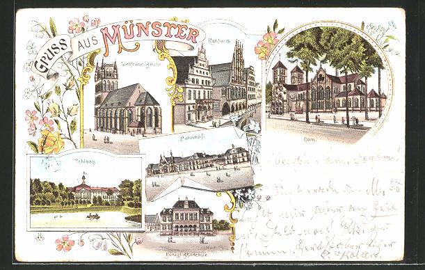 Lithographie Münster, Schloss, Bahnhof, Liebfrauenkirche, Königl. Akademie, Dom, Rathhaus