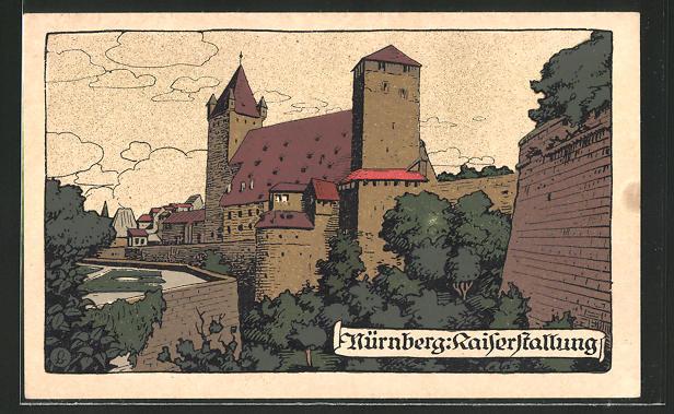 Steindruck-AK Nürnberg, Blick auf die Kaiserstallung