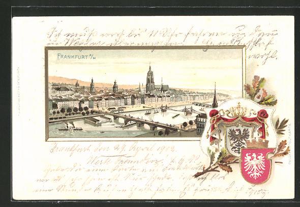 Präge-Passepartout-Lithographie Frankfurt, Ortsansicht aus der Vogelschau mit Wappen