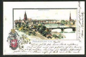 Passepartout-Lithographie Frankfurt, Gesamtansicht aus der Vogelschau mit Wappen