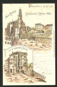 Lithographie Dresden-Löbtau, Hochwasser 1897, Zerstörtes neues Rathaus, zerstörtes Gebäude an der Hohenzollern Brücke