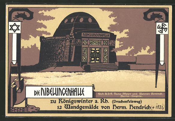 Steindruck-AK Königswinter, Darstellung der Nibelungenhalle