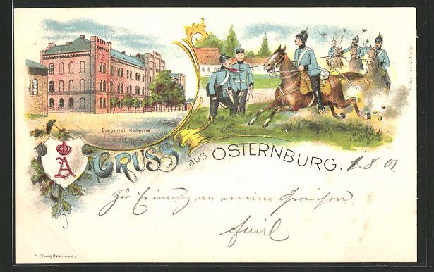 Lithographie Oldenburg, Dragoner-Kaserne, Soldaten des Dragoner-Regiments bei Reitübungen