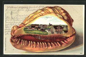 Passepartout-Lithographie Langeoog, Teilansicht der Ortschaft auf einer Muschel