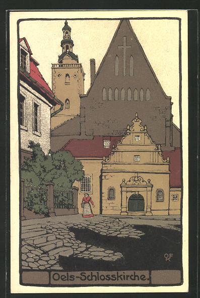 Steindruck-AK Oels, Partie an der Schlosskirche