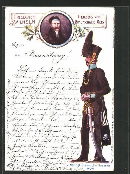 AK Herzogl. Braunschw. Husaren 1809, Friedrich Wilhelm Herzog von Braunschweig Oels