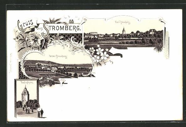 Lithographie Oelde-Stromberg, Paulusthurm, Blicke auf Unter- und Ober-Stromberg