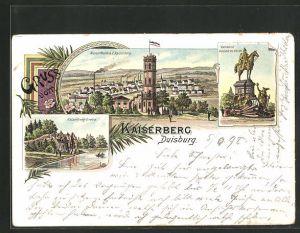 Lithographie Duisburg, Gasthaus Kaiserberg, Wasserthurm, Kaiserberg-Grotte