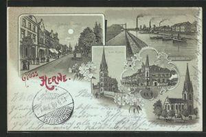 Mondschein-Lithographie Herne, Blick auf Bahnhofstrasse, Hafen u. Zeche Friedrich der Grosse, Kirche u. Postamt