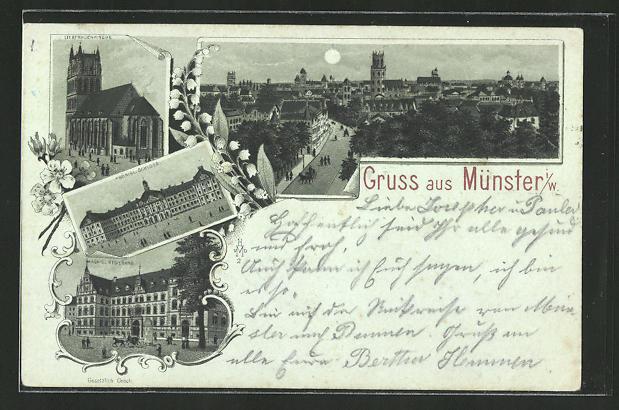 Mondschein-Lithographie Münster i. W., Königl. Regierung, Königl. Schloss, Liebfrauenkirche, Panorama