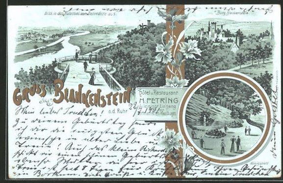 Lithographie Blankenstein, Hotel & Restaurant H. Petring, Blick in das Ruhrtal v. Belvedere aus, Burg Blankenstein