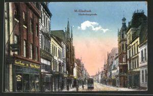 AK Mönchen Gladbach, Hindenburgstrasse mit Strassenbahn und Geschäften