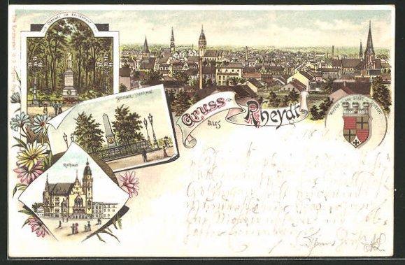 Lithographie Rheydt, Rathaus, Bismarckdenkmal, Denkmal im Kaiserpark, Ortspanorama