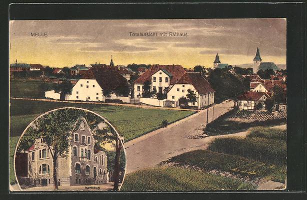 AK Melle, Panorama mit Rathaus
