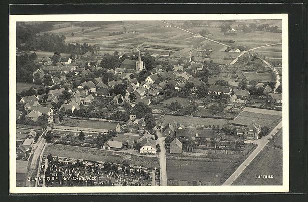 AK Glandorf, Ortspanorama aus der Luft gesehen