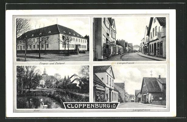 AK Cloppenburg i. O., Langestrasse, Amt, Finanz- und Zollamt
