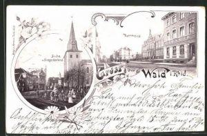 AK Wald / Rhld, Kirche und Kriegerdenkmal, Rathaus