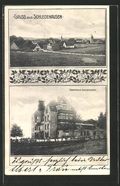 AK Schledehausen, Sanatorium Schledehausen, Totalansicht vom Ort