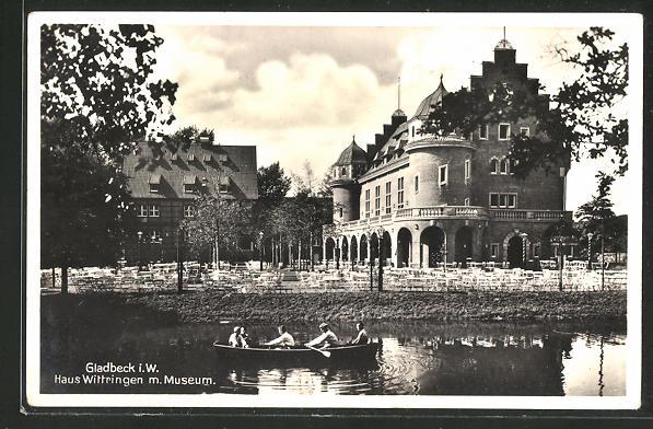 AK Gladbeck, Haus Wittringen m. Museum & Ruderboot