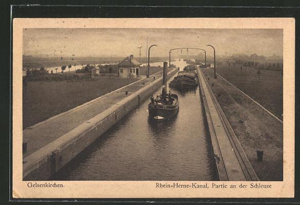 AK Gelsenkirchen, Rhein-Herme-Kanal, Partie an der Schleuse